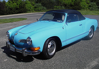 Karmann Gia after painting and restoration by Randall's Auto Body of Southampton, NY.