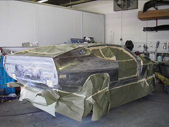 Prepping the Lamboroghini prior to painting at Randall's Auto Body of Southampton, NY.